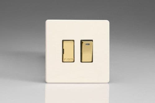 Varilight XDY6NVDS.PD Screwless Primed Brass 13A Switched Fused Spur + Neon Metal Inserts